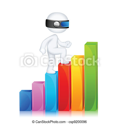 3d Man climbing Bar Graph - csp9200096
