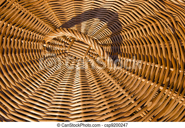 Background of hand-woven basket reed lid handle  - csp9200247