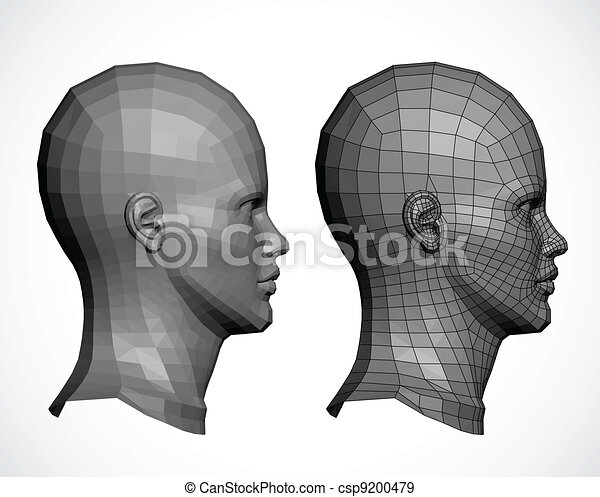 Female head in profile. Vector - csp9200479