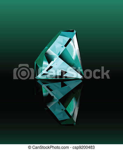 Cyan diamond with reflection. Vector - csp9200483
