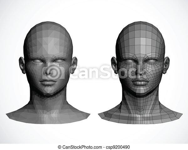 Female heads. Vector illustration - csp9200490