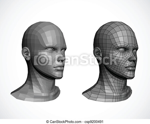 Female heads. Vector - csp9200491