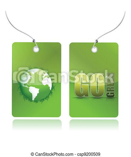 eco green illustration tags design - csp9200509