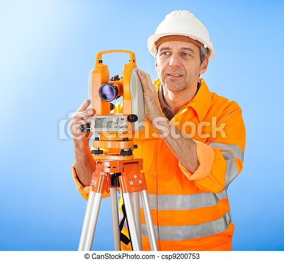 Senior land surveyor with theodolite - csp9200753