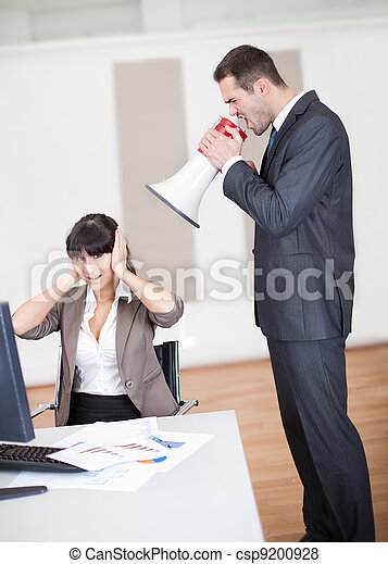 Angry boss screaming at employee - csp9200928