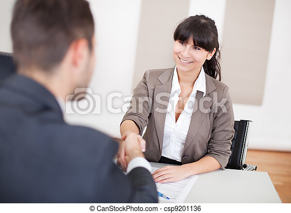 Young businesswoman at the interview - csp9201136