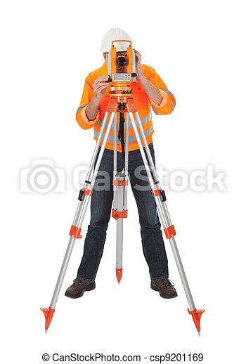 Senior land surveyor with theodolite - csp9201169