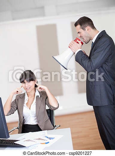 Angry boss screaming at employee - csp9201227