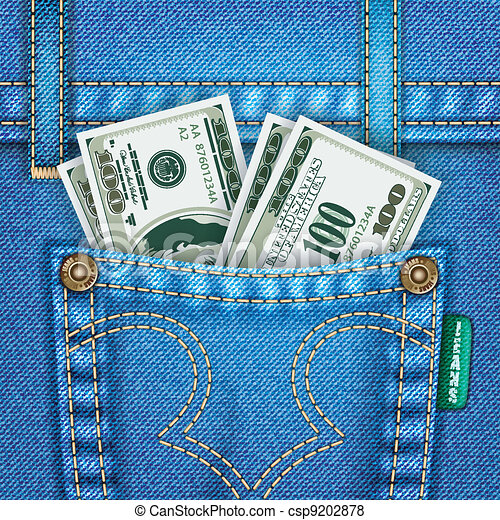 Jeans Pocket with Dollar Bills - csp9202878