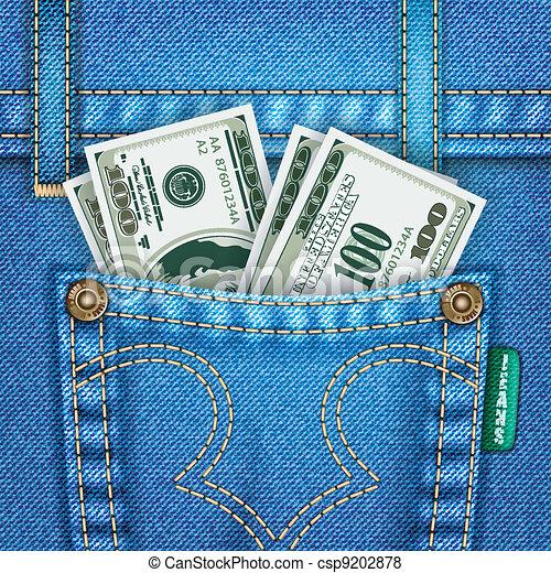 Jeans Pocket with Dollar Bills - csp9202878
