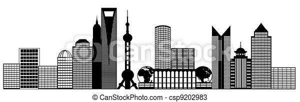 Shanghai City Pudong Skyline Panorama Clip Art - csp9202983
