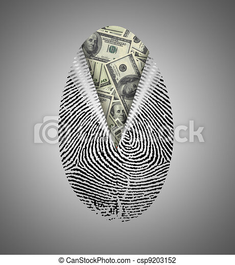 Finger Print reveals currency underneath - csp9203152
