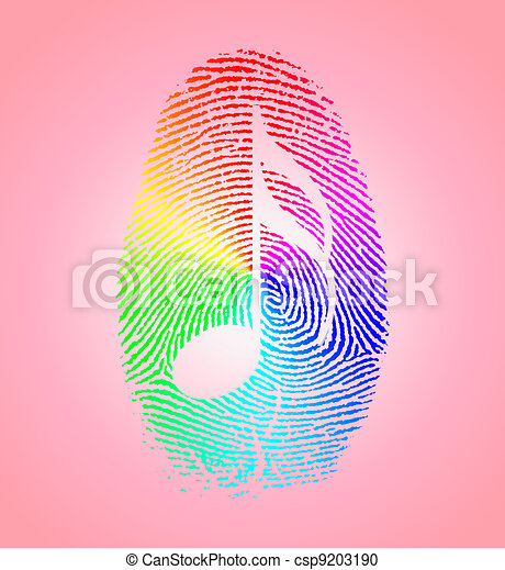 Rainbow Music Finger Print - csp9203190