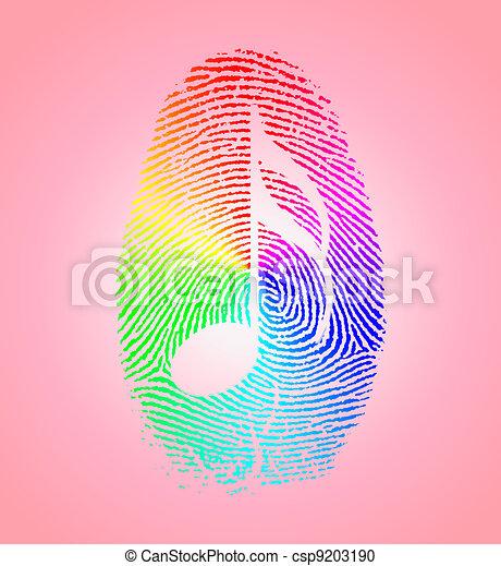 Rainbow Music Finger Print - csp9203190