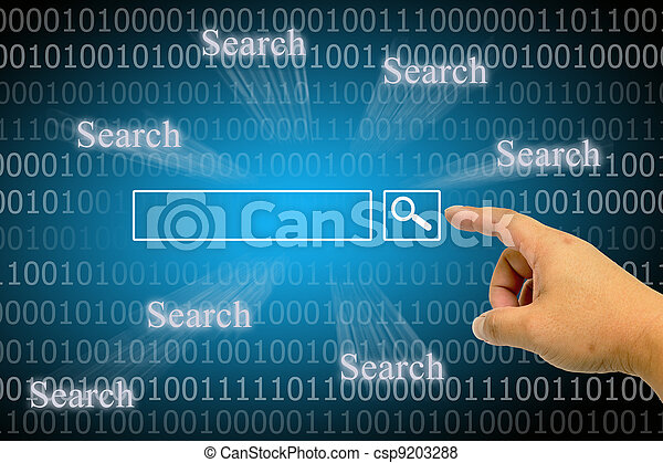 Hand clicking internet search page - csp9203288