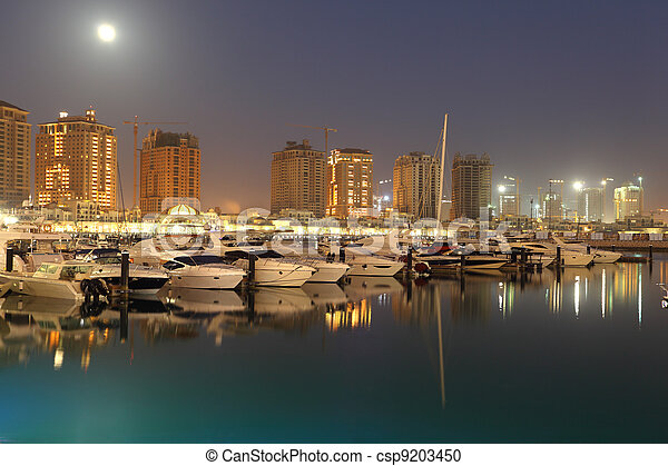 Porto Arabia at dusk. The Pearl in Doha, Qatar - csp9203450