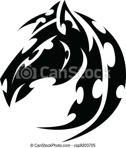 Mustang Stallion Horse Tribal Tattoo Vector Image - csp9203705