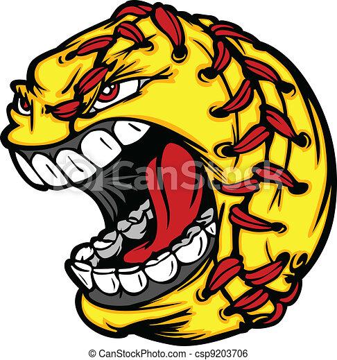 Fast Pitch Softball Ball Cartoon Face Illustration - csp9203706