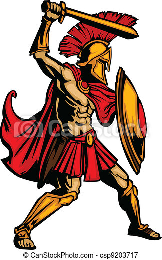 Spartan Mascot Body with Sword and Shield Vector Illustration - csp9203717