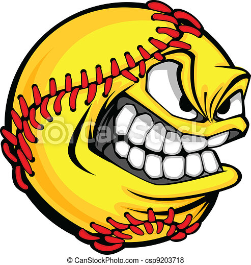 Fast Pitch Softball Face Cartoon Ball Vector Image - csp9203718