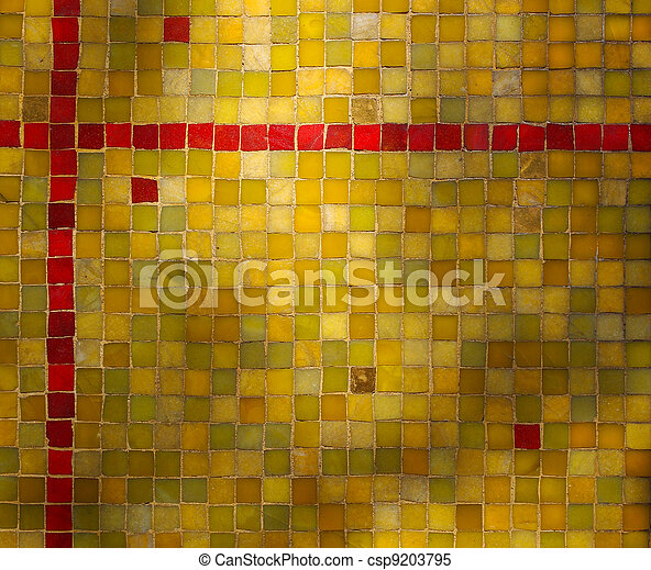 Green Yellow Red Tile Mosaic Background - csp9203795