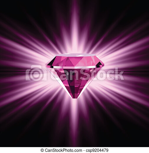 Pink diamond on bright background. Vector - csp9204479