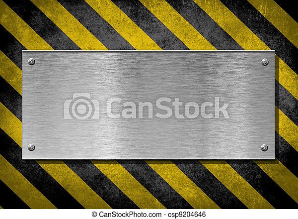 metal plate background with hazard stripes - csp9204646