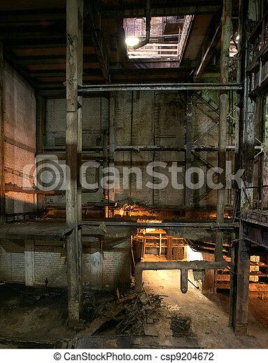 old creepy dark decaying dirty factory - csp9204672