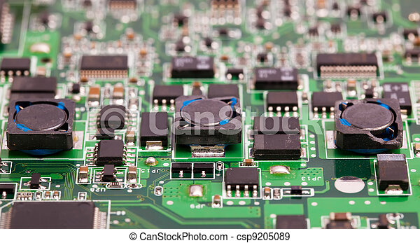 Laptop motherboard green close view - csp9205089