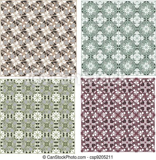 Set of detailed repeating damask patterns - csp9205211