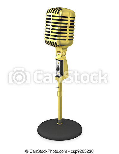 Golden classic microphone on black stand - csp9205230
