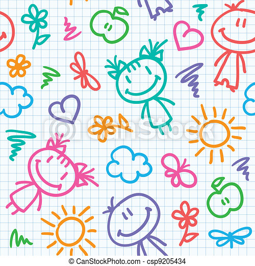 hand drawn kid pattern - csp9205434