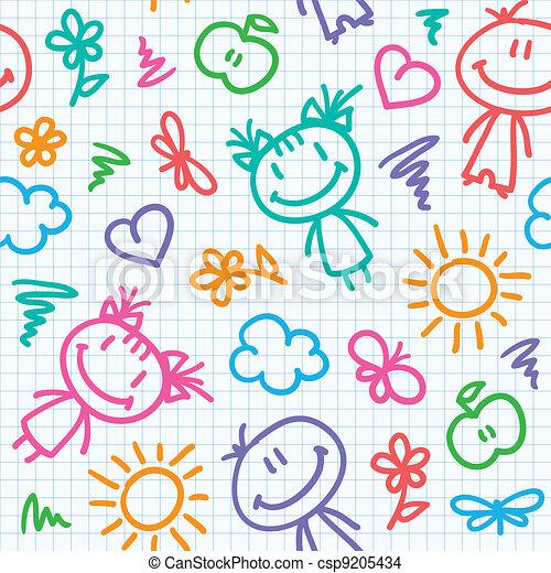 hand drawn kid pattern - csp9205434