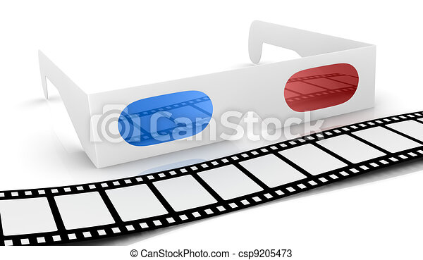 drawings of concept of 3d movie technology 3d glasses