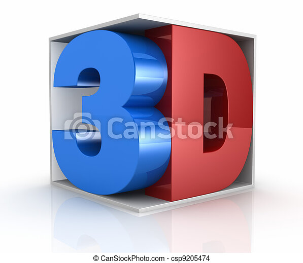 drawing of concept of 3d movie technology the word 3d