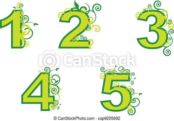 Ilustraciones de Vectores de figuras - ordinal, números, 1, 5 ...