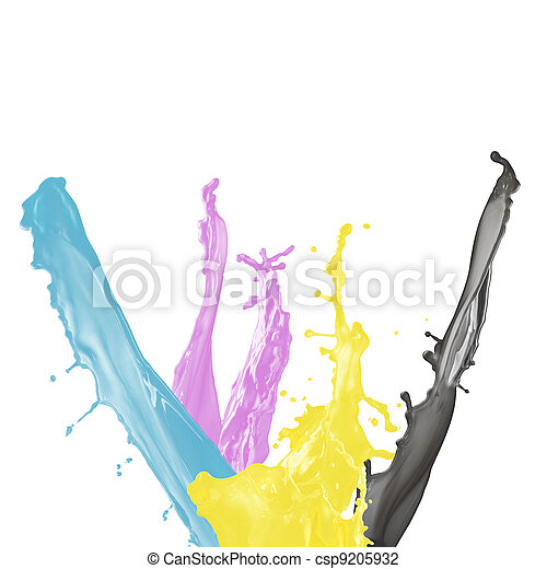 paint splash of cyan, magenta, yellow and black isolated on white background - csp9205932