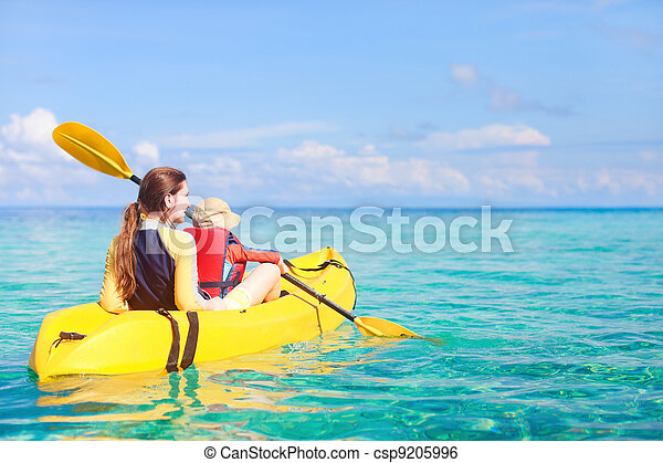 Mother and son kayaking - csp9205996
