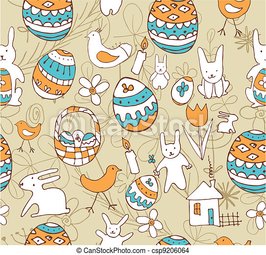 Easter Child Scribbles Seamless Background - csp9206064