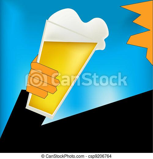 Cheers, Beer Art Deco Style Poster - csp9206764