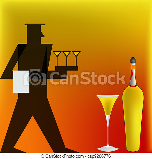 Cocktail Waiter, Deco style Poster - csp9206776