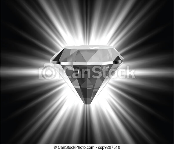 Shiny bright diamond. Vector - csp9207510