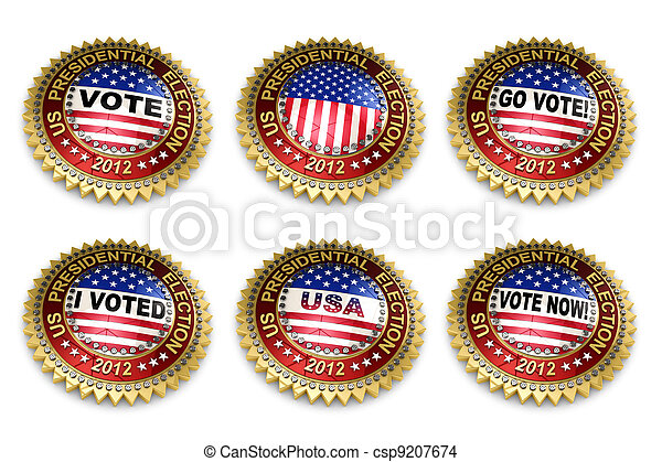 Presidential Election 2012 Buttons - csp9207674