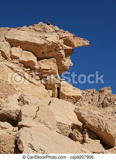 Scenic weathered yellow rock in stone desert, Israel - csp9207906