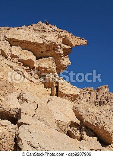 Scenic weathered yellow rock in stone desert, Israel - csp9207906