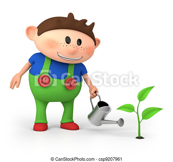 boy watering sprout - csp9207961