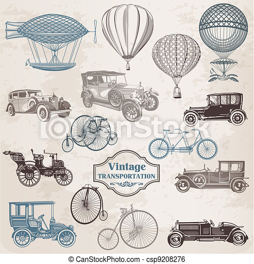 Vector Set: Vintage Transportation - collection of old-fashioned illustrations - csp9208276