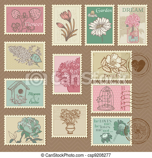 Retro Flower Postage Stamps - for wedding design, invitation, congratulation, scrapbook - in vector - csp9208277