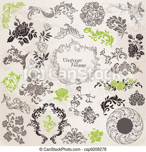 Vector Set: Calligraphic Design Elements and Page Decoration, Vintage Frame collection with Flowers - csp9208278