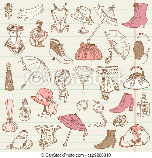 Ladies Fashion and Accessories doodle collection - hand drawn in vector - csp9208310